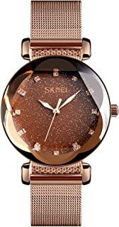 TONSHEN Womens Luxury Fashion Stainless Steel Watches Analog Quartz Luminous Pointer Casual Business Elegant Dress Watches for Girl Polygonal Crystal (Light Brown)