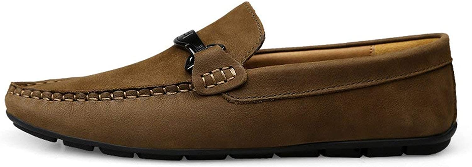 Tiwcer Men's shoes Casual Loafers Slip-On Breathable Man Genuine Leather shoes Driving Big Size