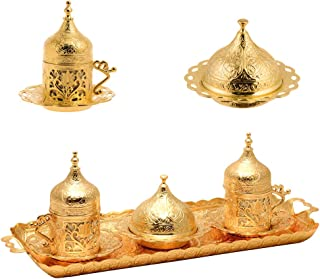 Alisveristime Ottoman Turkish Greek Arabic Espresso Coffee Cups with Saucer and Lid (Set of 2) (Lale) (Gold)