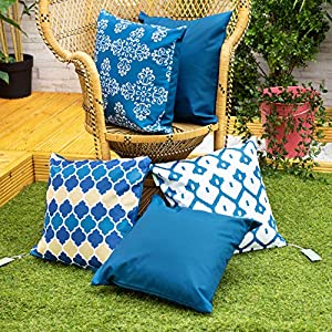 Gardenista Fundas de Cojines de Jardin Decorativas 45x45 cm   Tela Suave Agua Resistente   Imprimido Ultravioleta   Colleccion Marrueco (Azul Marroquí, 5 Piezas)