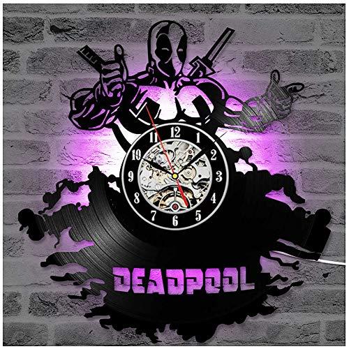 ZhangXF Deadpool LED Leuchtende Schallplatten Wanduhr, 12