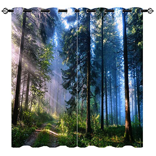 ANHOPE Forest Curtains, Thermal Insulated 100% Blackout Curtains for Bedroom Living Room, Nature Landscape 3D Pattern with Mystical Woodland Trees Sunrise Paths Window Drapes, 2 Panels, 104