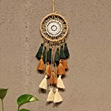 Artilady Small Dream Catcher for Cars - Bohemian Mini Dream Catchers for Cars Rear View Mirror Hanging Decoration (Green Brown)