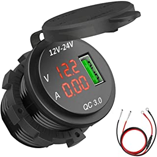 RUNGAO QC 3.0 USB Charger Socket Power Outlet Digital Voltmeter Ammeter Monitoring for Car Boat Marine RV Motorcycle Red