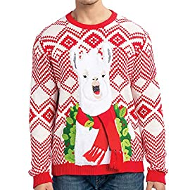 JOYIN Men's Christmas Fuzzy Llama Alpaca Ugly Sweater for Holiday or Birthday Gift 2 SUPER VALUE PACK.SUPER VALUE PACK. Our Christmas Funny Llama Sweater includes Pattern designs that are embroidered, graphics and knitted w/ 3D Scarf. It comes in 5 sizes. Small, Medium, Large, Extra Large and XX-Large. EASY TO USE. Your family and friends will love finding this holiday gift wrapped under the tree. It's the perfect present from Santa or a great Xmas stocking stuffer for the most wonderful time of the year! This is a unisex sweatshirt with knitted material guaranteed to keep all body types warm in colder weather. Check our other listings for this design in men's, women's, and youth shirts or other festive designs on hoodies and sweaters. UNIQUE AND FESTIVE. Soft and Comfortable fit and feel. Our sweaters have the unique designs. Perfect for Llama Ugly Christmas Sweater Party, Families, Pub Crawls, Ski Cabin, Xmas Gift, holiday photos, events or parties. Help spread Holiday cheer to men and women, kids and teens wherever you go with a fashionable Christmas sweaters and Christmas Sweater Competition.