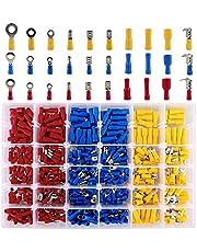 Gobesty Conectores de crimpado, 480 piezas Conectores eléctricos Surtido de terminales de crimpado aislados Kit de paquete Spade Bullet Butt Fork Conectores de cable