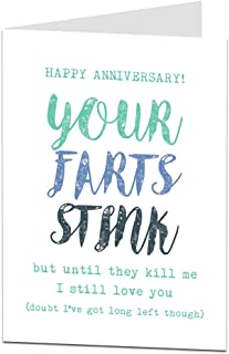 Funny Anniversary Card Perfect For Wedding & 1st Boyfriends Husband Girlfriend Or Wife Rude Your Farts Stink Design