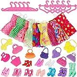 Fabur 40 Stück Kleider Set für Fashionistas Puppe Prinzessin Barbie Puppe mit 10 Kleider, 10 Kleiderbügel, 10 Paar Schuhe und 10 Handtasche -