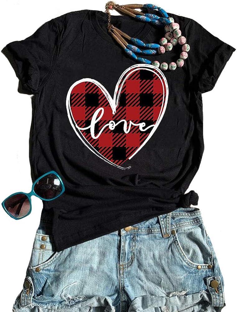 Women Leopard Plaid Love Heart Blouse Casual Top Ladies Tee Streetwear T-Shirt