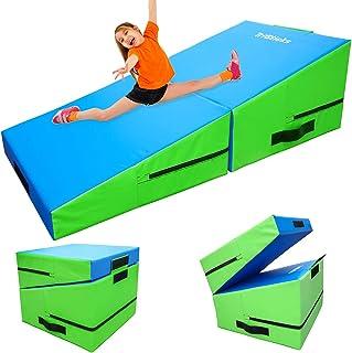 Triclicks lutande matta Gymnastik Hopfällbar Wedge Gymnastics Mat Lutning gymnastikmattor, L47 '' × W23 '' × H18 '', med b...