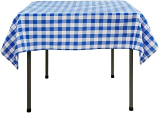 Waysle 54 x 54-Inch Square Tablecloth, 100% Polyester Washable Table Cloth for Square or Round Table, Blue and White