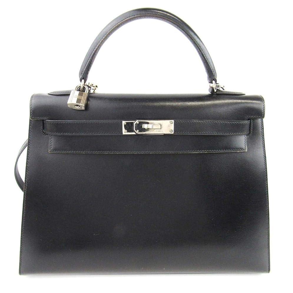 大きい埋め込む消費する[エルメス] HERMES ケリー32 外縫い 2wayハンドバッグ ブラック(金具:シルバー) ボックスカーフ [中古]