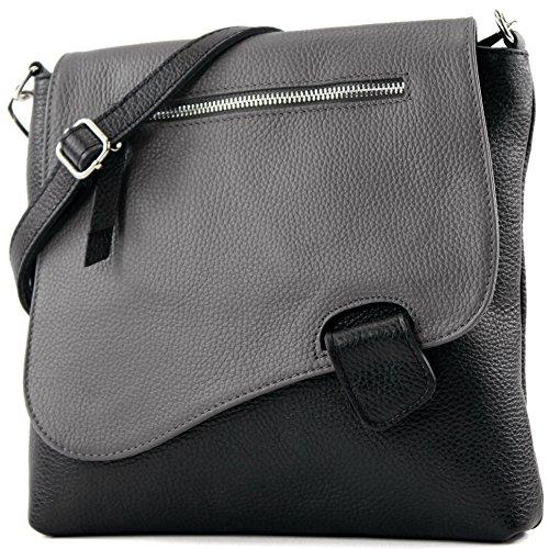modamoda de - T146 - ital Messengertasche Umhängetasche aus Leder, Farbe:Schwarz/Dunkelgrau