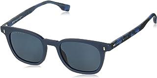 نظارات شمسية بيضاوية بوس للرجال 0968/s من هوجو بوس لون أزرق، 52 ملم