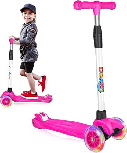 Beleev Scooters for Kids 3 Wheel Kick Scooter for Toddlers Girls & Boys, 4 Adjustable Height, Lean to Steer, Extra-Wi...