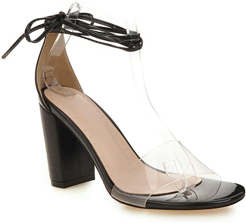 Women Sandals Transparent Ankle Strap Lace Up Sequins Square High Heel Ribbon Summer Pumps