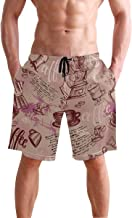 WIHVE Men's Swim Trunks Coffee Beans and Cups Pattern Quick Dry Beach Board Short with Mesh Lining
