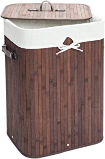 Knocbel Bamboo Laundry Hamper Large Portable Dirty Clothes Storage Basket with Lid Removable Cotton Liner