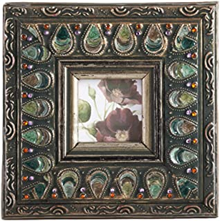 Fennco Styles Vintage Studded Jeweled Antique Metal Photo Frame (Peacock Feather 8