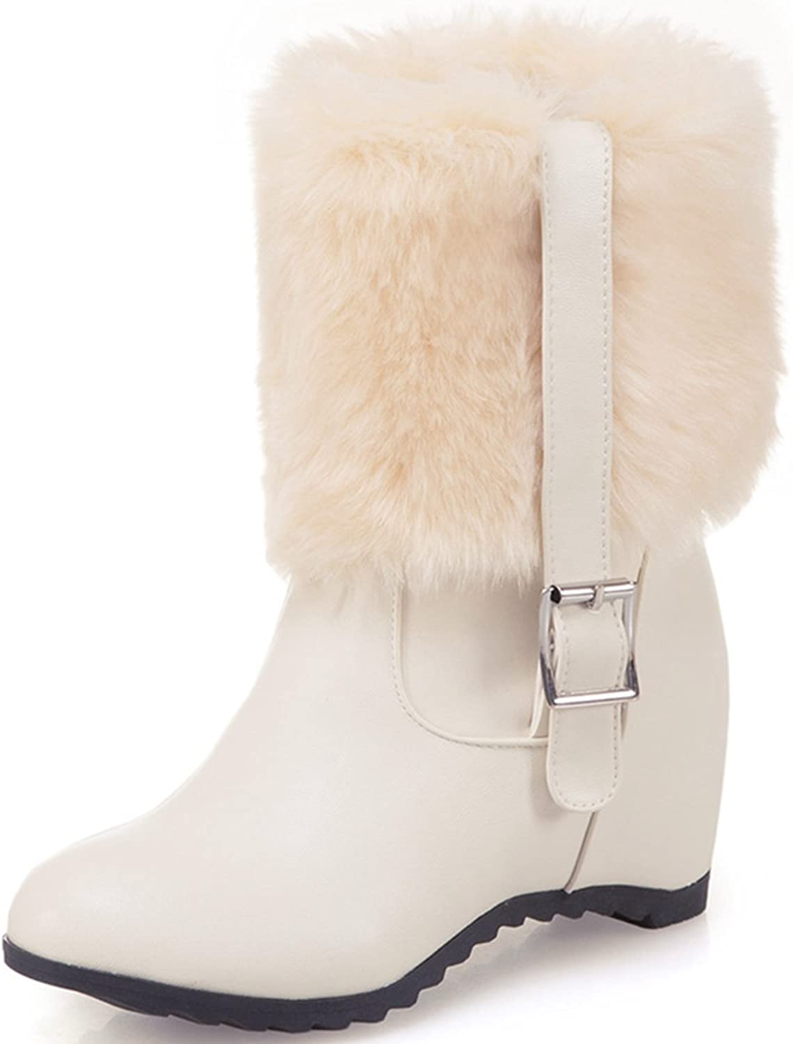 DoraTasia Women's Buckle Pointed Toe Faux Fur Flat Ankle Boots