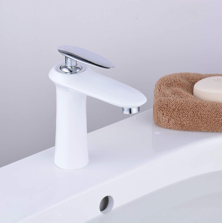 Brass Bathroom Mono Mixer Tap Sink Basin Tap, Single Lever Single Hole, White&Chrome