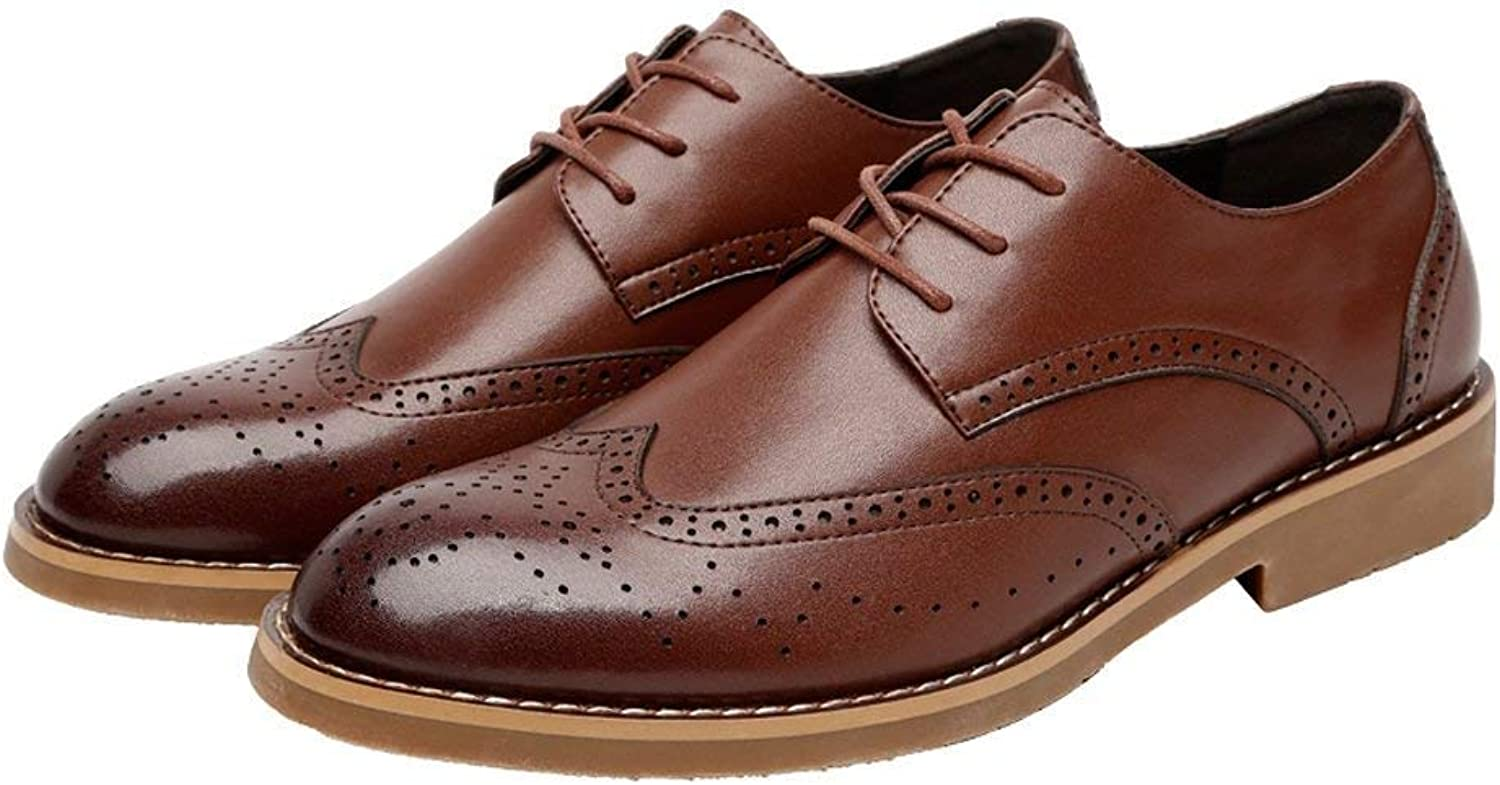 FuweiEncore 2018 Men's Classic Business shoes Matte Breathable Hollow Carving Genuine Leather Lace up Lined Oxfords (Suede Optional) (color  Suede BRN, Size  42 EU) (color   Brown, Size   45 EU)