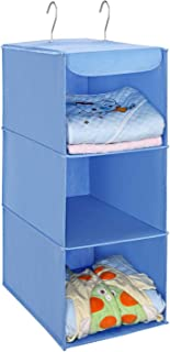 [Amazonブランド] Umi.(ウミ) 吊り下げ収納 衣類ラック 3段 折り畳み 不織布製 クローゼット 取り付け簡単 フック2個付 (ブルー)