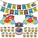 Tomicy Juego de Cumpleaños de Cars Lightning McQueen Party Supplies Car temática Globos Cumpleaños Pancartas Decoración para Fiestas Adorno de Torta para Niños Ducha de Bebé Fiesta de Cumpleaños
