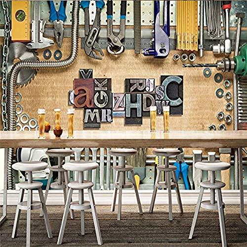 Wandbild, Tapete, groß, selbstklebend, 3D-Effekt, europäischer Retro, mechanischer Werkzeugkasten, Hintergrund, Wandbild, 3D-Werkstatt, Industriedekoration, Wandtapete, 400 x 280 cm