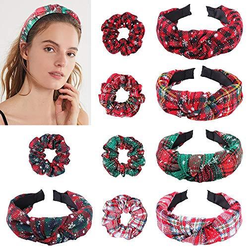 YMHPRIDE 10 pack Kerst Haar Scrunchies Zachte Elastische Haarbanden Plaid Sneeuwvlok Paardenstaart Houders Kerst Haaraccessoires voor Dames Meisjes (5pack hoofdbanden / 5pack haarbanden)