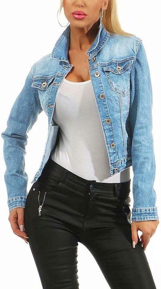 Women Cropped Denim Coat Long Sleeve Vintage Strechy Classic Trucker Jean Jacket