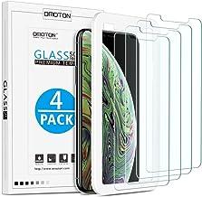 OMOTON [Lot de 4 ] Verre Trempé pour iPhone X/XS Film Protection Ecran [Kit Installation Offert] Film Protecteur iPhone X 2017/2018,[ 5.8 Pouces, 9H Dureté, sans Bulles]