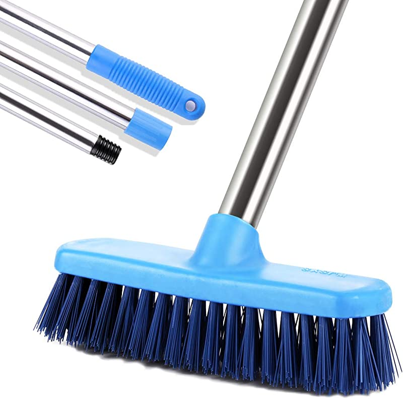 MEIBEI Floor Scrub Brush With Adjustable Long Handle 47 3 Stiff Bristle Grout Brush Tub And Tile Brush For Cleaning Bathroom Patio Kitchen Wall And Deck