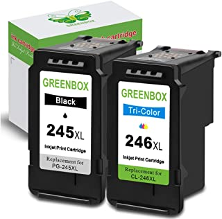 GREENBOX Re-Manufactured Ink Cartridge Replacement for Canon PG-245XL CL-246XL PG-243 CL-244 (1 Black 1 Tri-Color) Used in PIXMA MX492 MX490 IP2820 MG2420 MG2522 MG2920 MG2922 TS302
