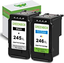 GREENBOX Re-Manufactured Ink Cartridge Replacement for Canon PG-245XL CL-246XL PG-243 CL-244 Used in PIXMA MX492 MX490 IP2820 MG2420 MG2522 MG2920 MG2922 TS302 (1 Black 1 Tri-Color)