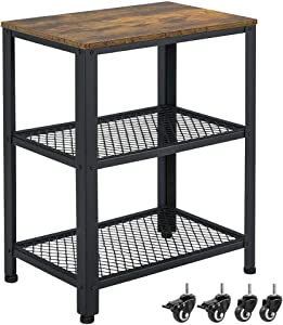 Yaheetech Industrial End Side Tables with Mesh Shelf and Wheels for Living Room, 3-Tier Nightstand for Small Space, Sturdy and Easy Assembly, Vintage Accent Furniture with Metal Frame, Rustic Brown