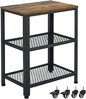 Yaheetech Industrial Sofa Side End Table with Storage Shelves and Rolling Casters, 3-Tier Snack Coffee Table for Living Room, Easy Assembly, Wood Look Accent Furniture with Metal Frame, Rustic Brown