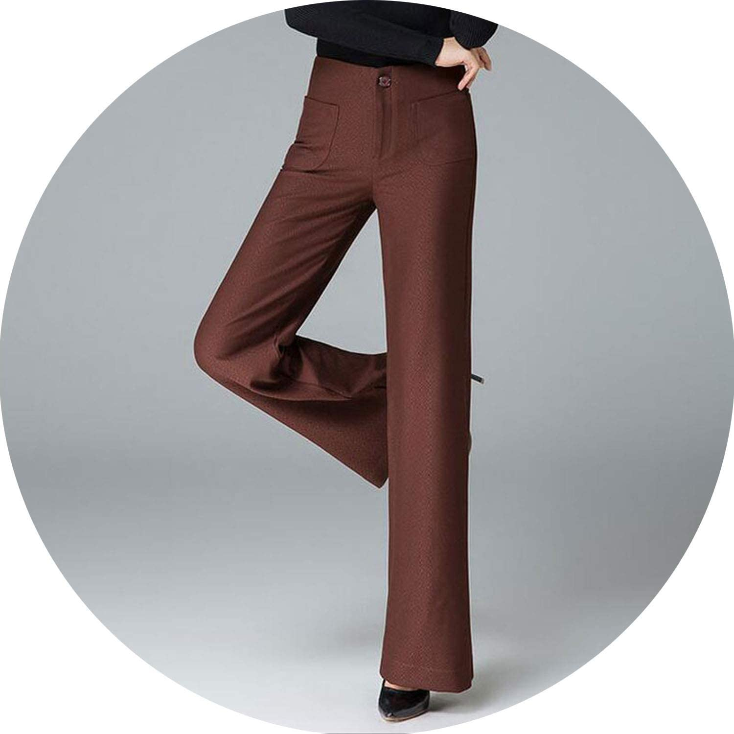 It's a big deal Office Lady Work Flare Leg Pants Solid color Casual Women's Black Wide Trousers Full Length