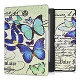 kwmobile Schutzhülle kompatibel mit Kobo Aura H2O Edition 1 - Hülle Kunstleder eReader - Schmetterlinge Vintage Blau Mintgrün Beige