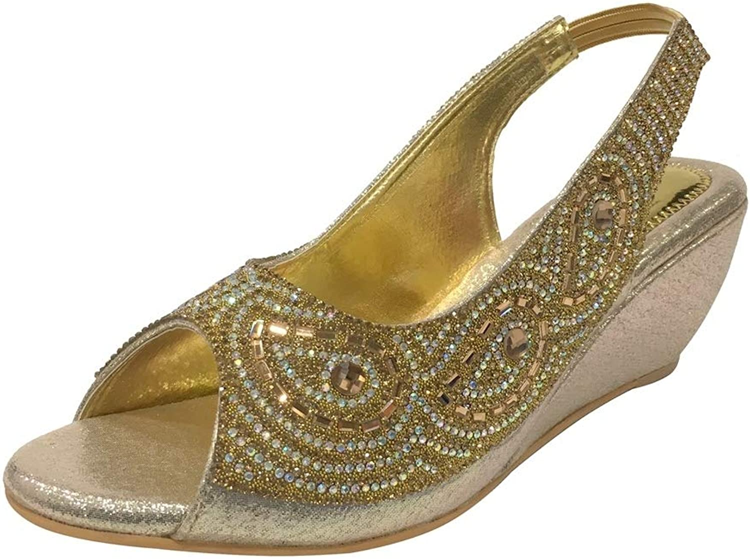 Step n Style Womens Wedge Heel Sandals Toe Post Ladies Diamante Sparkly Prom shoes
