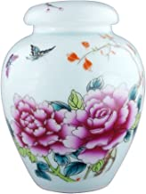 MEILINXU 6.5 Medium-Sized Cremation Urn by Funeral Urn for Human Ashes Adult and Pet Urns- Made in Ceramics & Hand-Painted - Cremation Urns for Adults Burial (Roses and Butterflies Colorful Life