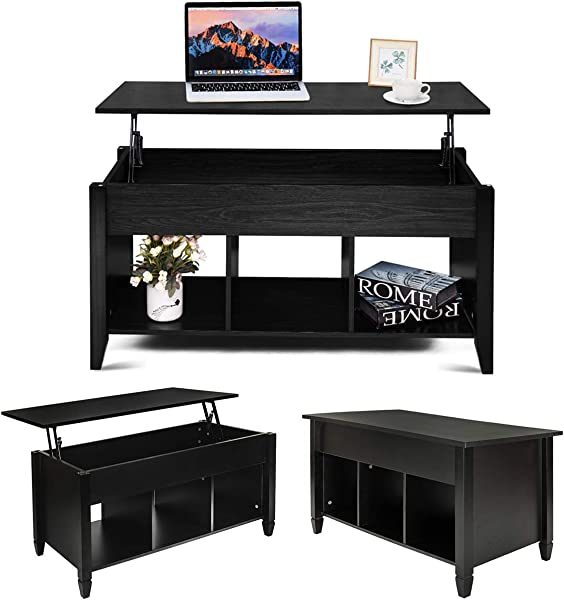 MTFY Lift Top Coffee Table Modern Wood Home Living Room Furniture Coffee Table Desk With Hidden Compartment Storage Shelf Black