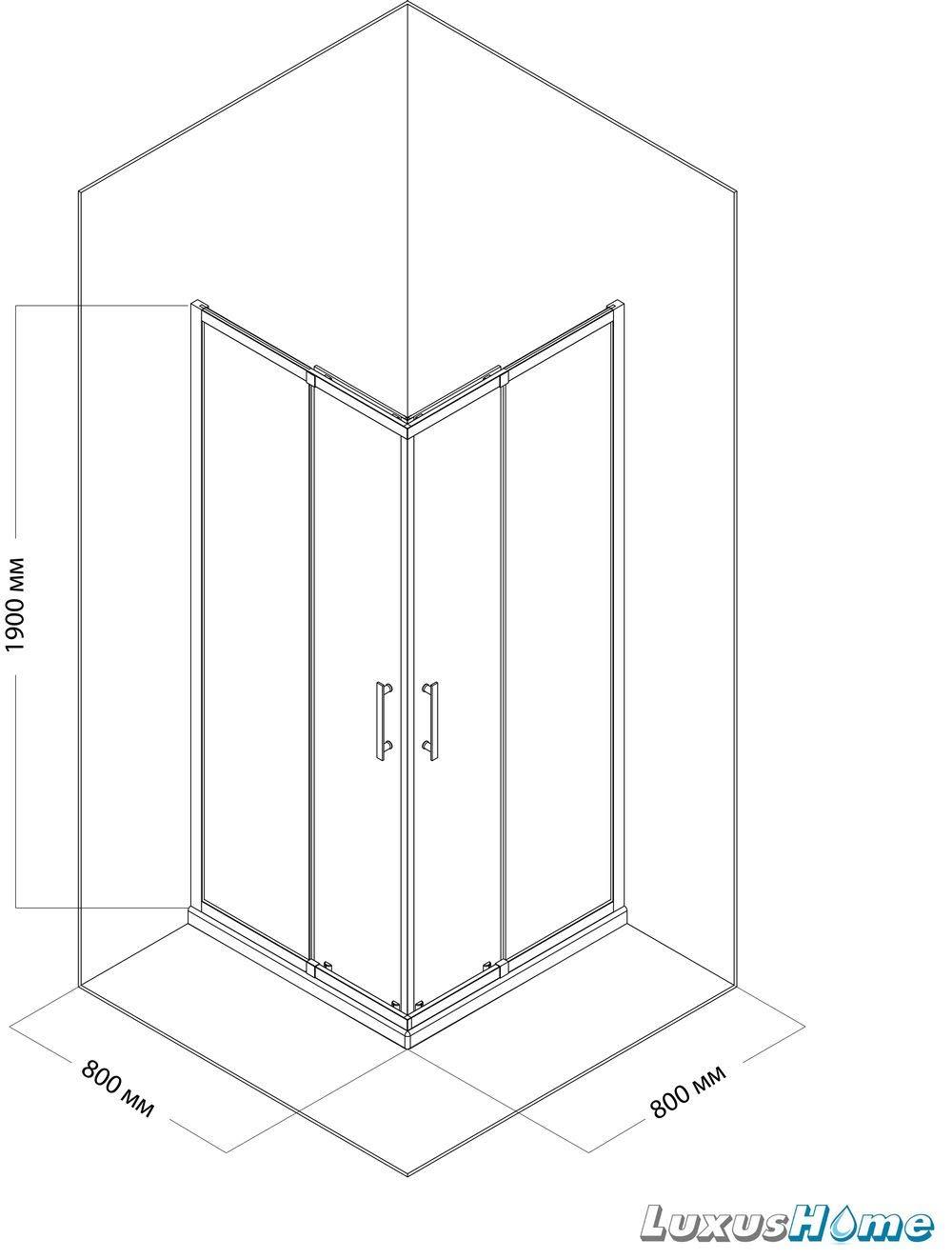 Cabina de ducha 80 x 80 x 190 cm sin plato de ducha 6 mm cristal ...