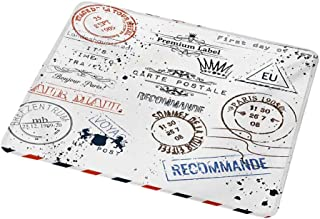 Gaming Mouse Pad Customized Vintage,Retro Post Stamps Postage Mail Paris Antique Artistic Design Vocation Traveling,Custom Design Gaming Mouse Pad 9.8