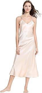 f634a3b45bef1 Aivtalk - Chemise de Nuit Femme Longue pour Eté en Soie Artificielle Robe  de Nuit à