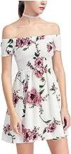ONEYIM Women's Summer Dress Off Shoulder Fit Comfy Floral Casual Short Mini Dress