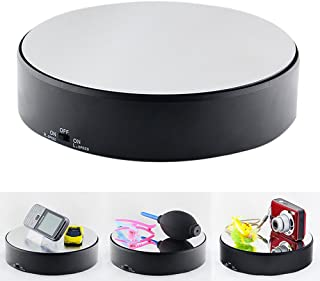 Olpchee Battery Operated 18CM 360 Degree Black Round Mirrored Rotating Turntable Display Stand