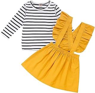 FUTERLY Girls Skirts Set Toddler Baby Girl Ruffle Strap Skirt + Long Sleeve T-Shirt Tops Perfect Fall Outfits Set 80