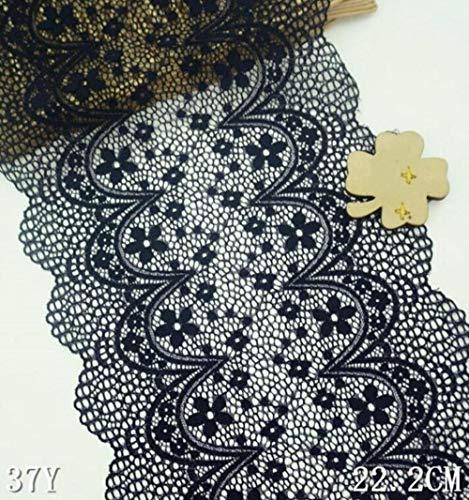 1 meter bloempatroon zwart gebroken wit 20cm breedte mooie elastische kanten versieringen lint stretch kanten rand naaien ambachtelijke diy kledingstuk, zwart 22cm