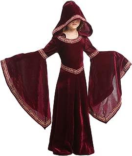 Kids Girls Womens Medieval Renaissance Dress Costume Halloween Vampire Cosplay Hooded Robe Gown 4-12T